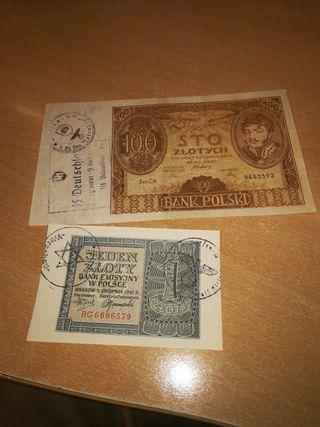 2 billetes muy buen estado gueto segunda guerra mu