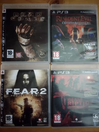 LOTE DE 4 JUEGOS PS3: FEAR 2,DEAD SPACE,RESIDENT E
