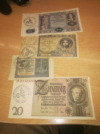 cuatro billetes marcados segúnda Guerra mundial