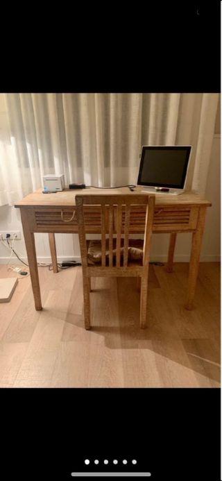 Mesa madera maciza y silla Jardin d ulysse impec