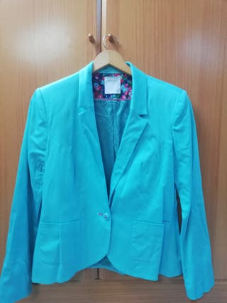 chaqueta americana azul turquesa mujer L
