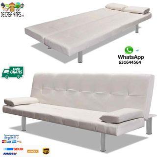Sofa cama con 2 cojines de cuero sintetico.