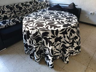 mesa de salon redonda + camilla