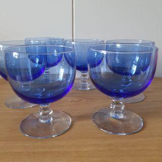 6 Copas de Cristal Azul