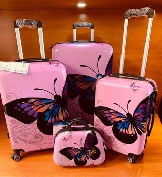 Conjunto de cuatro maletas nuevas metalizadas de