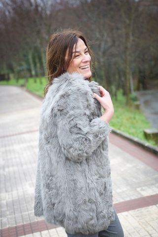 Zara abrigo de pelo gris