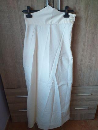 falda amazona color hueso! un solo uso talla 36