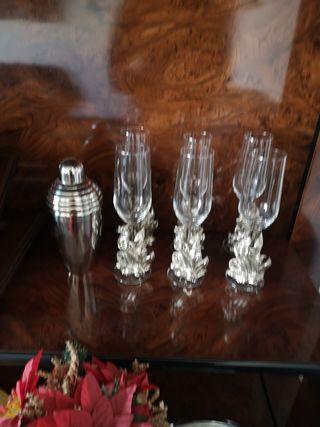 copas champán pie de plata