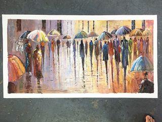 Un dia lluvioso, pintura contemporanea al oleo