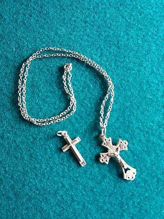 cadena plata y 2 crucifijos plata