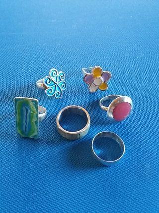 6 anillos plata