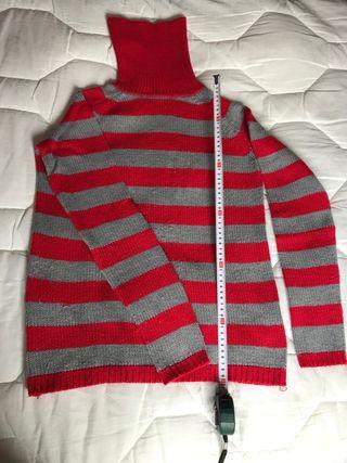 Jersey rayas gris y rojo de Zara