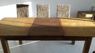mesa con 6 sillas madera