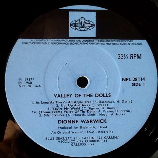 """DIONNE WARWICK """"VALLEY OF THE DOLLS"""" LP"""