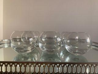 6 copas de coñac de cristal sin pie a esteenar