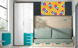 Cama abatible con sofa y armario smP