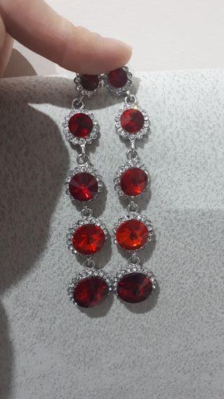 pendientes perla roja