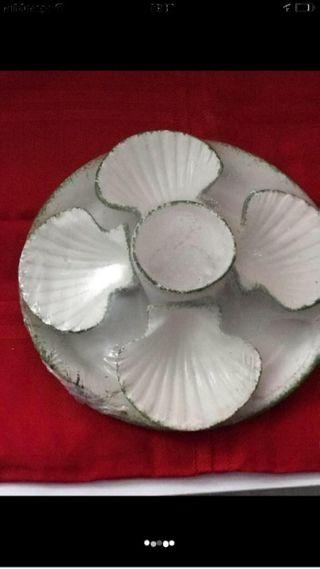 Bandeja porcelana +4 conchas+vaso
