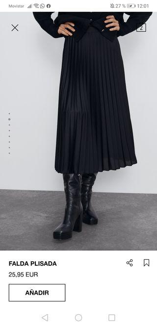 Falda larga plisada de Zara