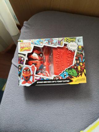 Huevera spiderman y marcador de tostadas