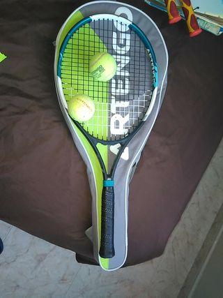 Raqueta de tenis infantil con 2 pelotas y funda
