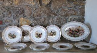 Bandeja y platos porcelana