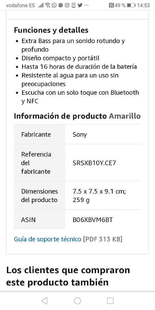 Sony SRS-XB10Y- Altavoz inalámbrico portátil Sony