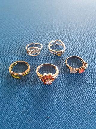 anillos plata, 5 piezas