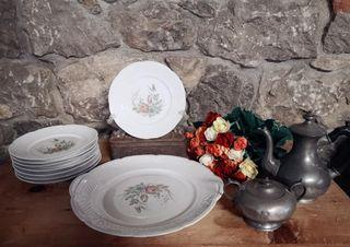 Servicio de postre de porcelana