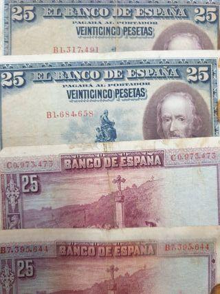 billetes 100, 50 y 25 pesetas