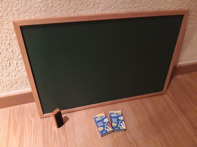 Pizarra verde 60x40cm + borrador + tizas
