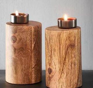 Soporte velas madera mango