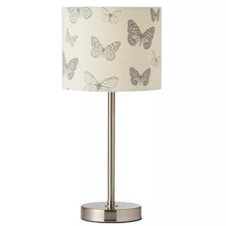 Butterfly 34cm Table Lamp Satin Chrome RRP £23