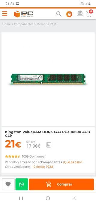 Memoria ram ddr3 1333 8gb (2modulos de 4gb)
