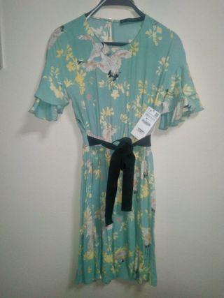vestido estampado plisado lazo