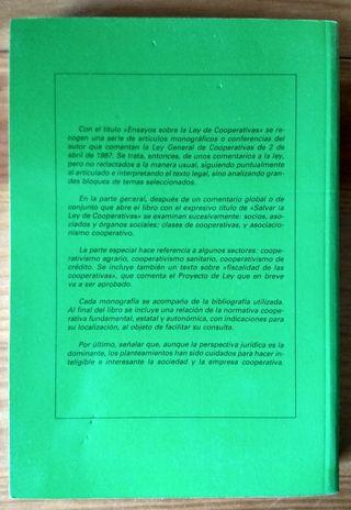 Libro Ensayos sobre la ley de cooperativas