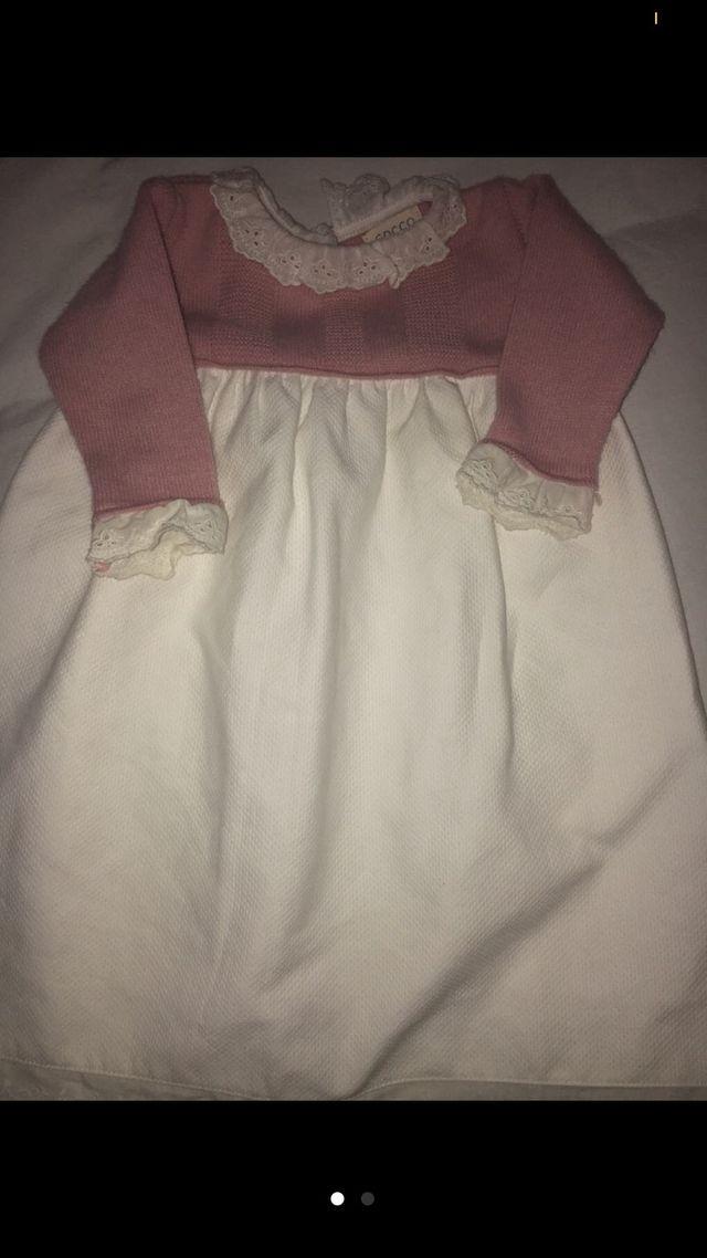 Faldón gocco vestido recién nacida talla 0 meses