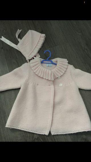 Abrigo lana foque talla 3 meses talla 6 meses