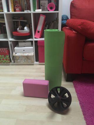 Kit rueda abdominales, esterilla y ladrillo yoga