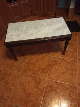 mesa salón fumador de mármol y madera