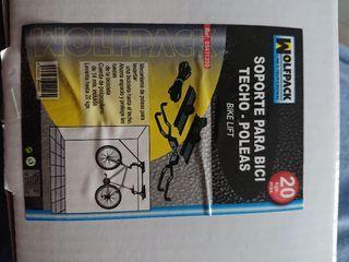 2 soportes de techo con poleas para bicicleta