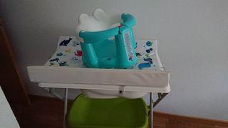 Bañera cambiador pleglabe + asiento de bañera bebé