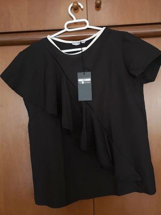 Camisa elegante negra, mujer, talla L