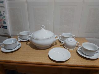 sopera porcelana allegro y tazas
