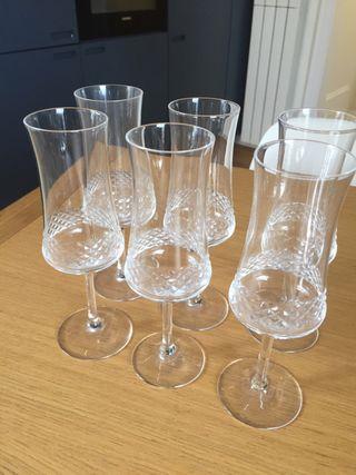 8 Copas champan con cenefa labrada