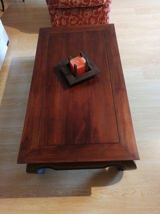 Mesa para sala de estar de madera colonial