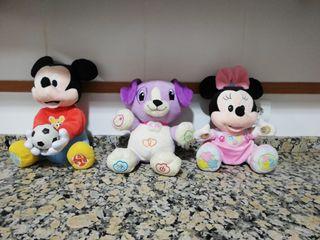 juguete peluche mickey, Minnie y violeta