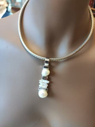 Collar plata con perlas cultivadas