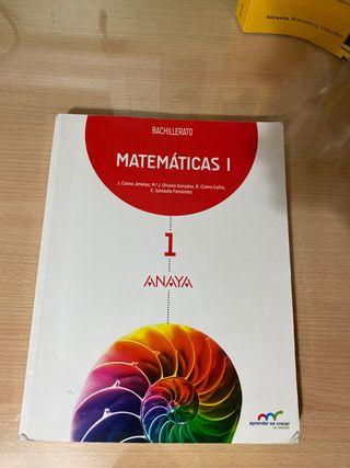 Libro matemáticas 1º bachillerato Anaya