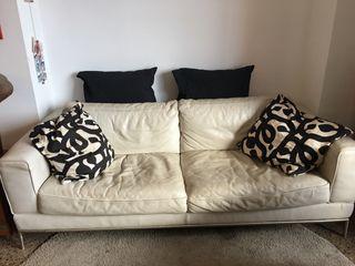 Sofá Ikea, piel blanco, para regalar